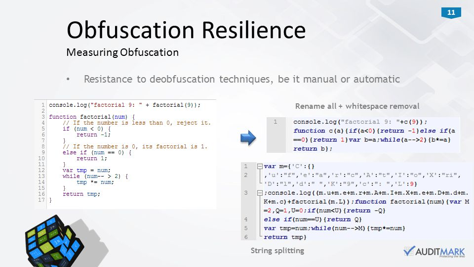 11 Resistance to deobfuscation techniques, be it manual or automatic Obfuscation Resilience Measuring Obfuscation Rename all + whitespace removal String splitting