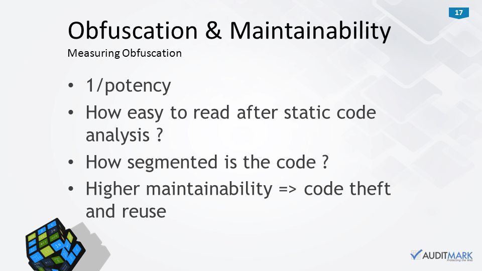 17 1/potency How easy to read after static code analysis .
