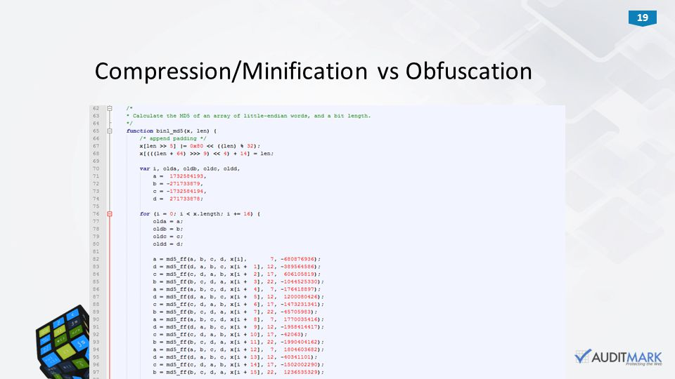 19 Compression/Minification vs Obfuscation