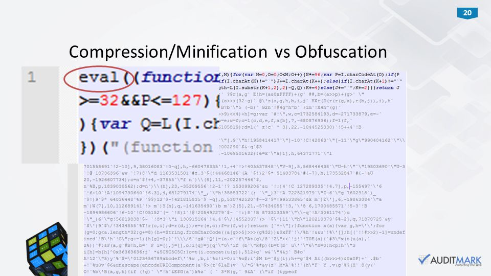 20 Compression/Minification vs Obfuscation