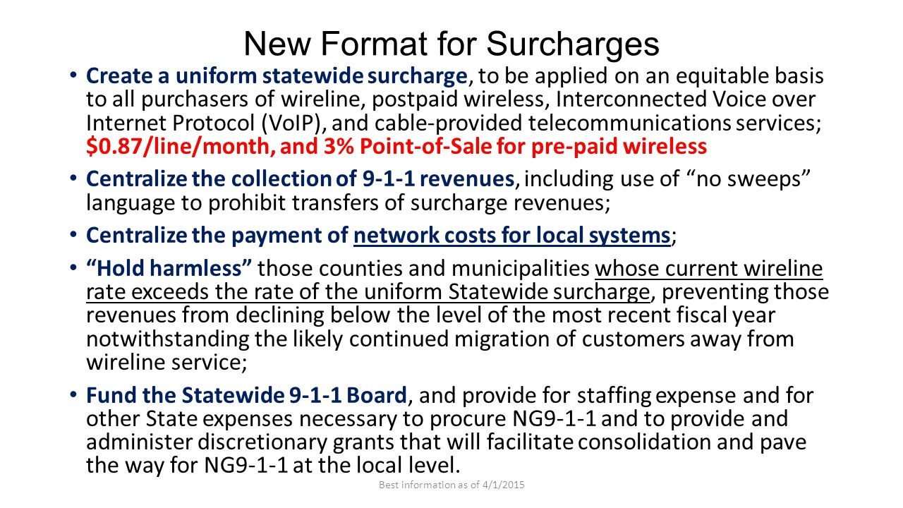New Format for Surcharges Create a uniform statewide surcharge, to be applied on an equitable basis to all purchasers of wireline, postpaid wireless,