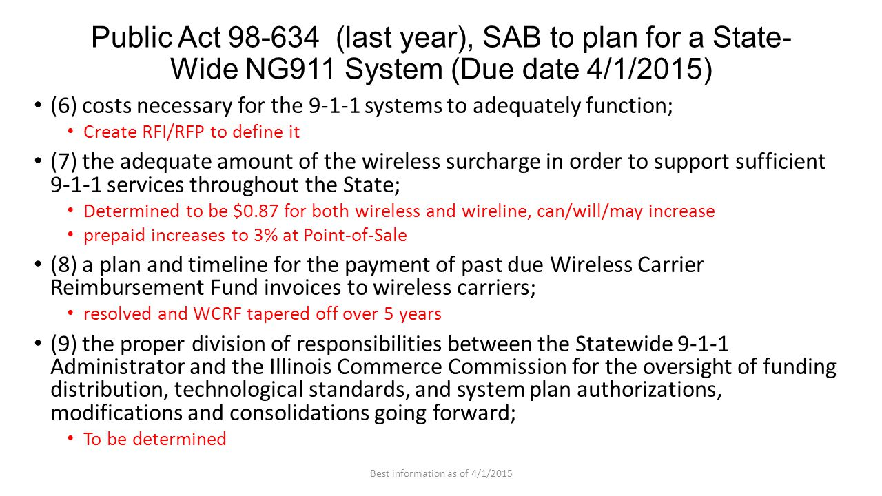 (6) costs necessary for the 9-1-1 systems to adequately function; Create RFI/RFP to define it (7) the adequate amount of the wireless surcharge in order to support sufficient 9-1-1 services throughout the State; Determined to be $0.87 for both wireless and wireline, can/will/may increase prepaid increases to 3% at Point-of-Sale (8) a plan and timeline for the payment of past due Wireless Carrier Reimbursement Fund invoices to wireless carriers; resolved and WCRF tapered off over 5 years (9) the proper division of responsibilities between the Statewide 9-1-1 Administrator and the Illinois Commerce Commission for the oversight of funding distribution, technological standards, and system plan authorizations, modifications and consolidations going forward; To be determined Public Act 98-634 (last year), SAB to plan for a State- Wide NG911 System (Due date 4/1/2015) Best information as of 4/1/2015