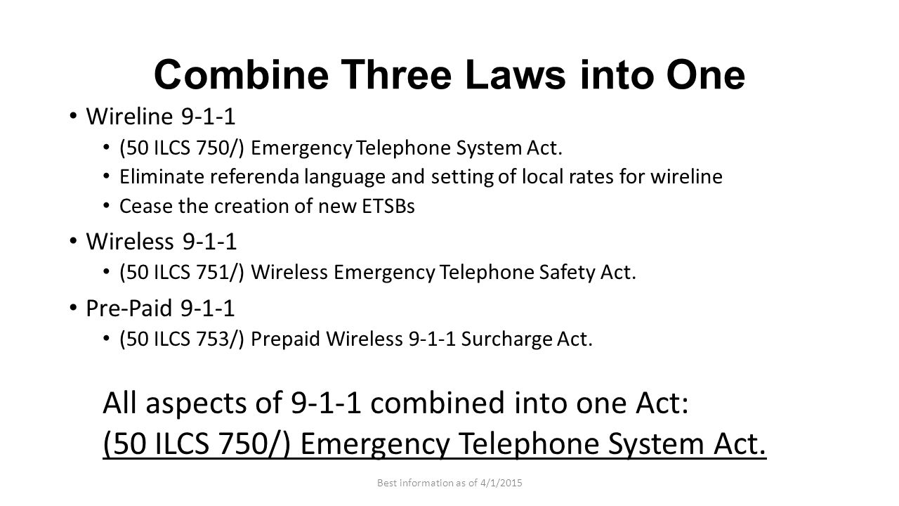 Combine Three Laws into One Wireline 9-1-1 (50 ILCS 750/) Emergency Telephone System Act. Eliminate referenda language and setting of local rates for