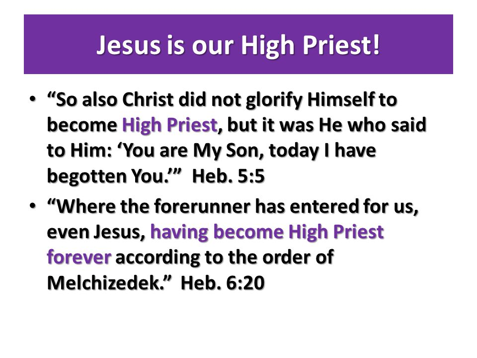 Jesus is our High Priest.