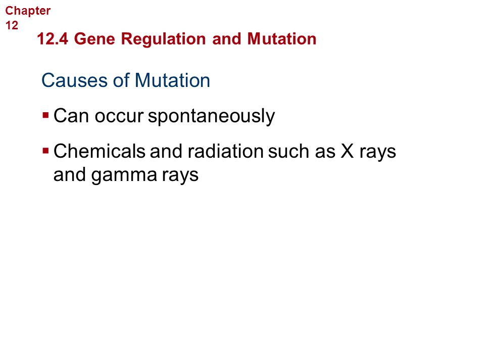 Molecular Genetics Causes of Mutation  Can occur spontaneously  Chemicals and radiation such as X rays and gamma rays 12.4 Gene Regulation and Mutat