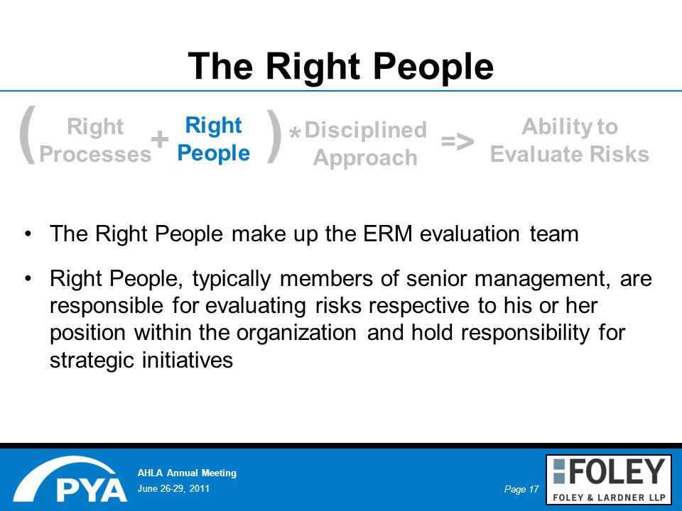 Page 17 June 26-29, 2011 AHLA Annual Meeting The Right People The Right People make up the ERM evaluation team Right People, typically members of senior management, are responsible for evaluating risks respective to his or her position within the organization and hold responsibility for strategic initiatives ( + ) * Right Processes Right People Disciplined Approach Ability to Evaluate Risks = >