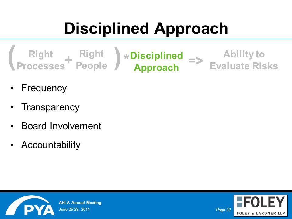Page 22 June 26-29, 2011 AHLA Annual Meeting Disciplined Approach Frequency Transparency Board Involvement Accountability ( + ) * Right Processes Right People Disciplined Approach Ability to Evaluate Risks = >