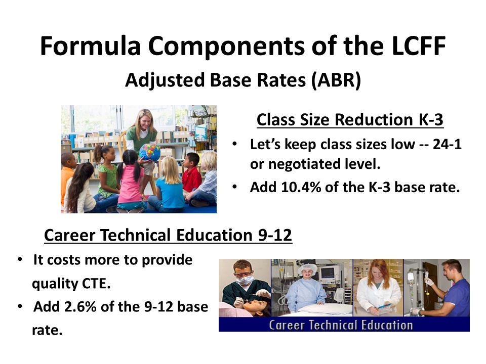 Formula Components of the LCFF Supplemental Funding To meet the needs of: Low Income (LI) Foster Youth English Learners (EL) Add 20% of the eligible student's base rate.