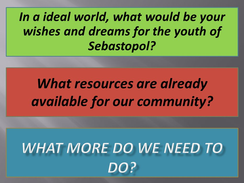 In a ideal world, what would be your wishes and dreams for the youth of Sebastopol.