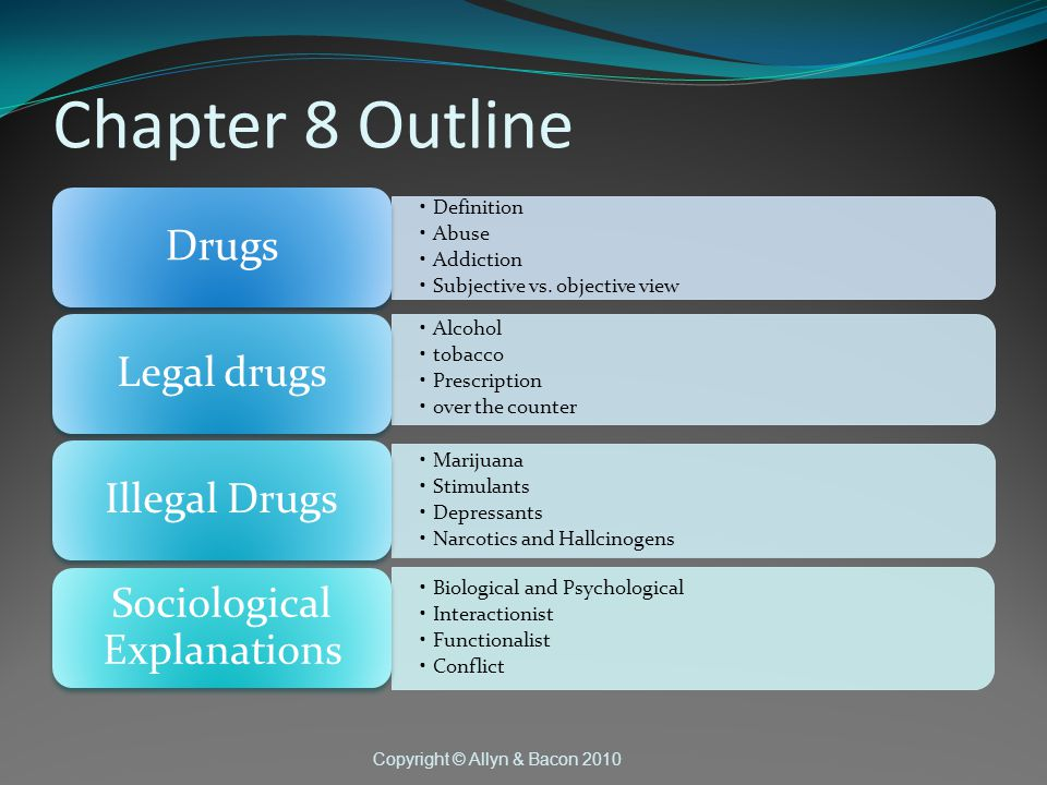 Copyright © Allyn & Bacon 2010 Chapter 8 Outline Definition Abuse Addiction Subjective vs.