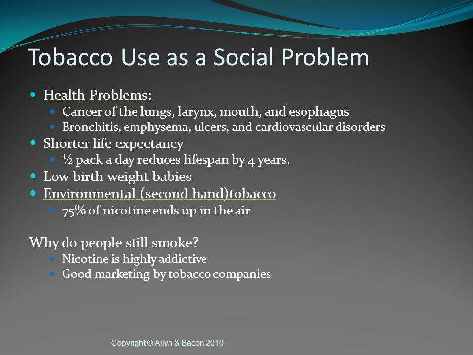 Copyright © Allyn & Bacon 2010 Sociological Explanations (cont.) Functionalist Drugs serve functions in society Prescription and over the counter drugs help patients They help doctors treat patients, justify their fees Provide jobs for pharmacists Drugs are also dysfunctional Dysfunctional because people can become addicted Illicit drug activities serve important societal functions (create jobs for DEA agents) Dysfunctional because they are linked to crime, addiction, and other social problems.