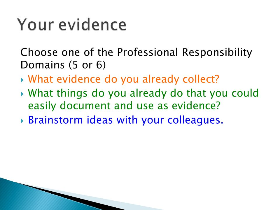 Choose one of the Professional Responsibility Domains (5 or 6)  What evidence do you already collect.