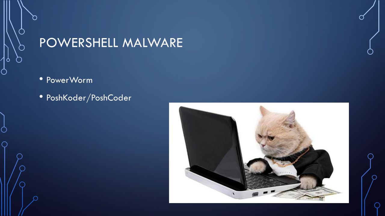 MY POWERSHELL MALWARE Single Script – SystemInformation.ps1 Runs as a schedule task – WindowsUpdate Collects system information Reports back to C2 infrastructure Collects list of tasks to run