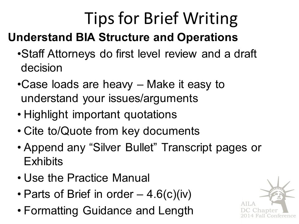 Tips for Brief Writing Understand BIA Structure and Operations Staff Attorneys do first level review and a draft decision Case loads are heavy – Make it easy to understand your issues/arguments Highlight important quotations Cite to/Quote from key documents Append any Silver Bullet Transcript pages or Exhibits Use the Practice Manual Parts of Brief in order – 4.6(c)(iv) Formatting Guidance and Length