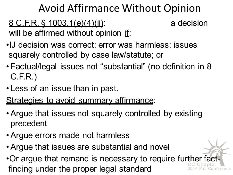 Avoid Affirmance Without Opinion 8 C.F.R.