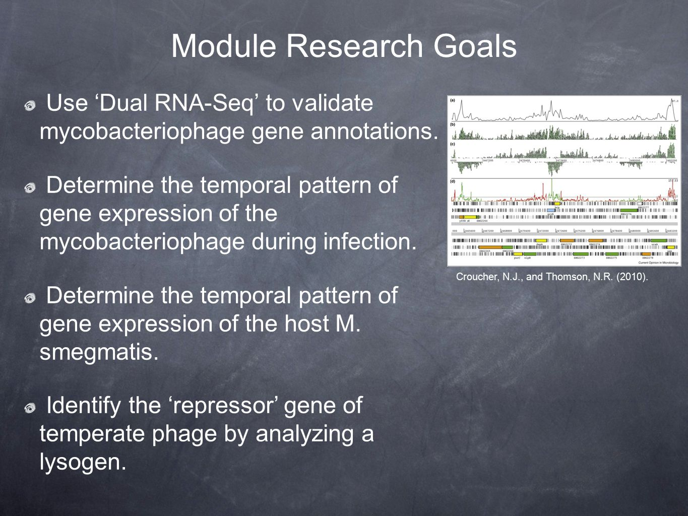 Module Research Goals Use 'Dual RNA-Seq' to validate mycobacteriophage gene annotations.