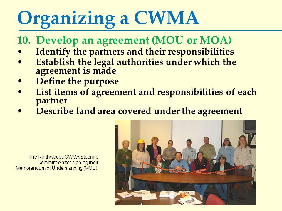 Organizing a CWMA 10.