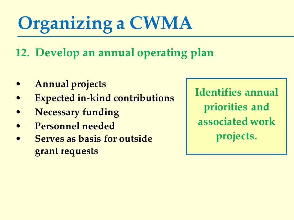 Organizing a CWMA 12. Develop an annual operating plan Annual projects Expected in-kind contributions Necessary funding Personnel needed Serves as bas