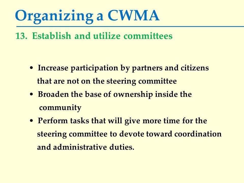 Organizing a CWMA 13.