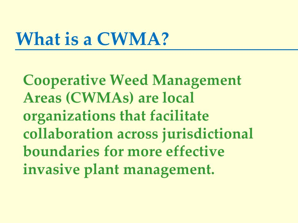 What is a CWMA? Cooperative Weed Management Areas (CWMAs) are local organizations that facilitate collaboration across jurisdictional boundaries for m