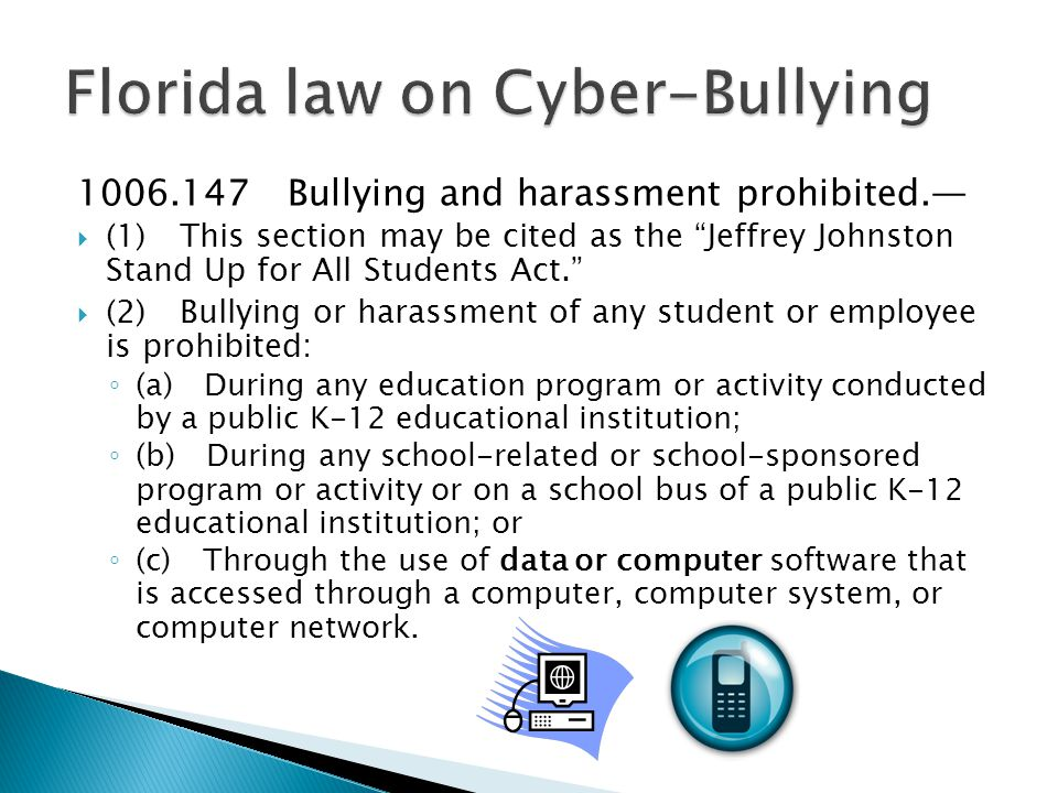 1006.147 Bullying and harassment prohibited.—  (1) This section may be cited as the Jeffrey Johnston Stand Up for All Students Act.  (2) Bullying or harassment of any student or employee is prohibited: ◦ (a) During any education program or activity conducted by a public K-12 educational institution; ◦ (b) During any school-related or school-sponsored program or activity or on a school bus of a public K-12 educational institution; or ◦ (c) Through the use of data or computer software that is accessed through a computer, computer system, or computer network.