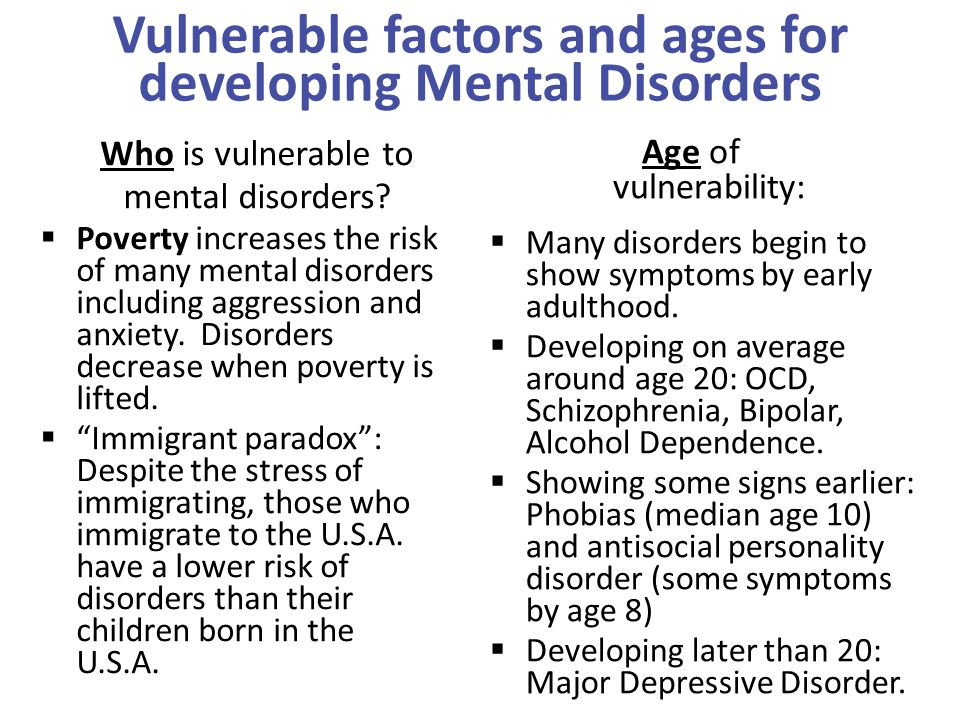 Vulnerable factors and ages for developing Mental Disorders  Poverty increases the risk of many mental disorders including aggression and anxiety. Di
