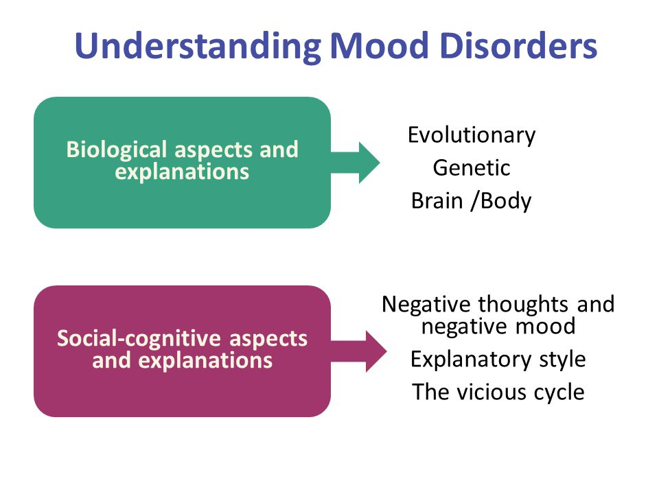 Understanding Mood Disorders Biological aspects and explanations Social-cognitive aspects and explanations Evolutionary Genetic Brain /Body Negative t