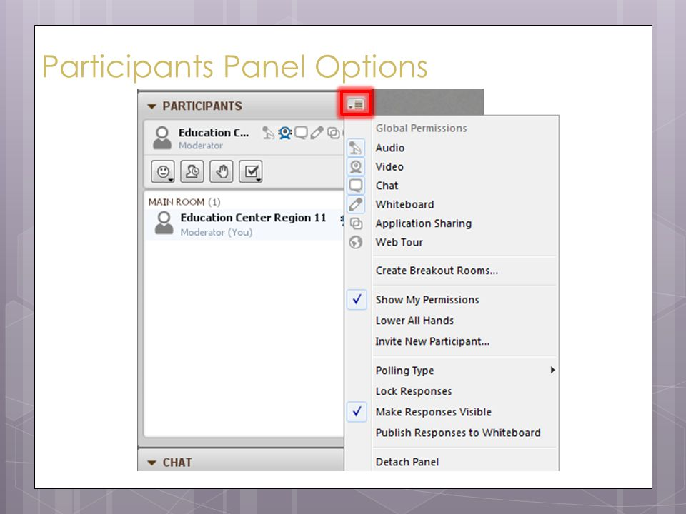 Participants Panel Options