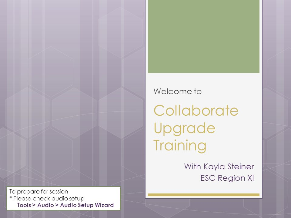 Collaborate Upgrade Training Welcome to With Kayla Steiner ESC Region XI To prepare for session * Please check audio setup Tools > Audio > Audio Setup Wizard