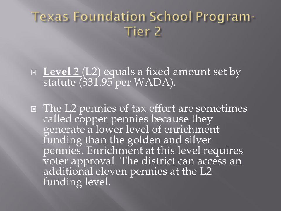  Level 2 (L2) equals a fixed amount set by statute ($31.95 per WADA).