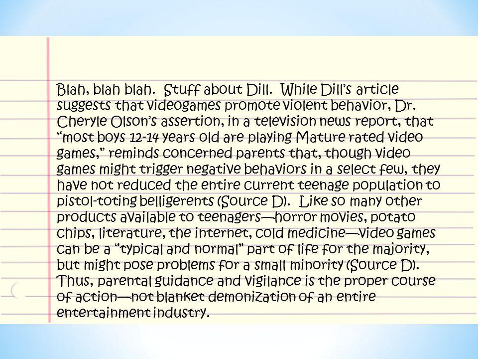 Blah, blah blah. Stuff about Dill.