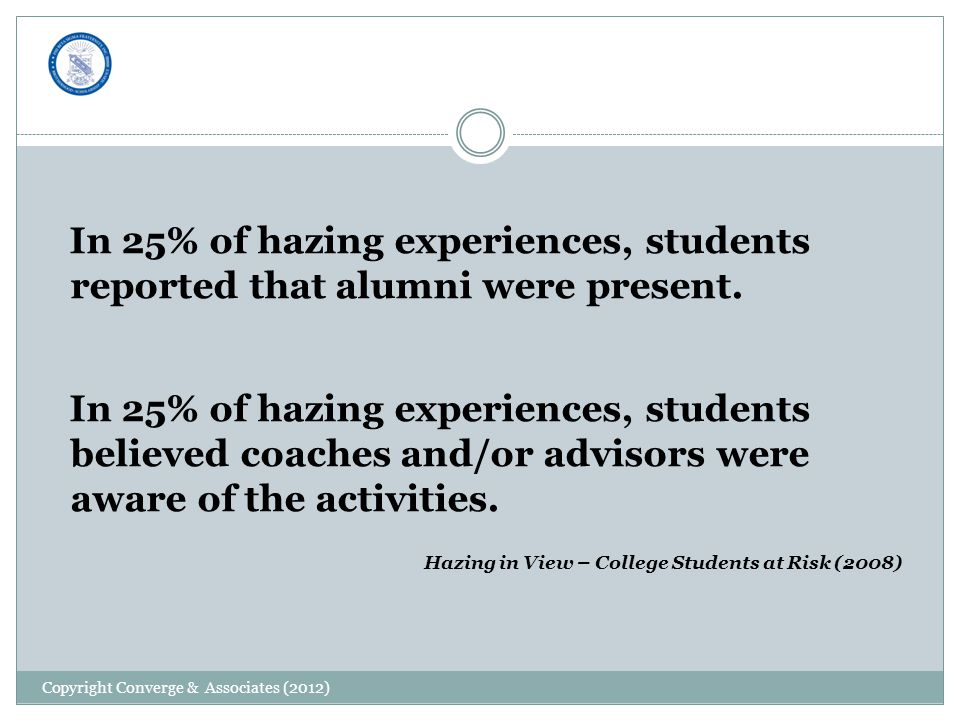 In 25% of hazing experiences, students reported that alumni were present.