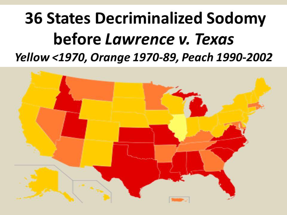 36 States Decriminalized Sodomy before Lawrence v.