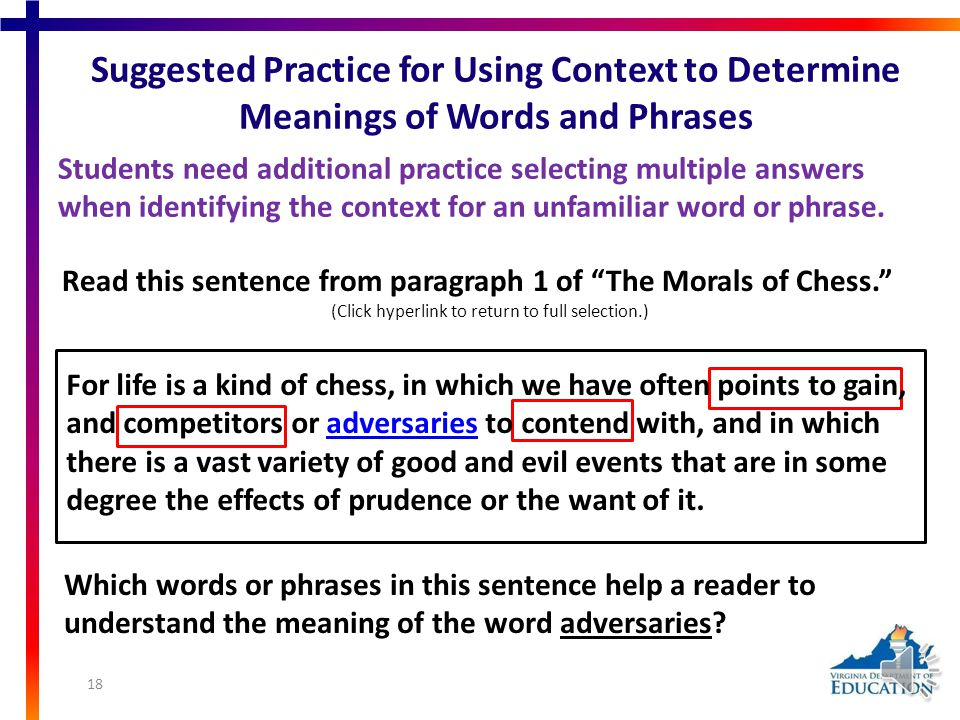 Using Word Analysis Strategies: Context SOL 11.3b) Use context, structure, and connotations to determine meanings of words and phrases. Students may n