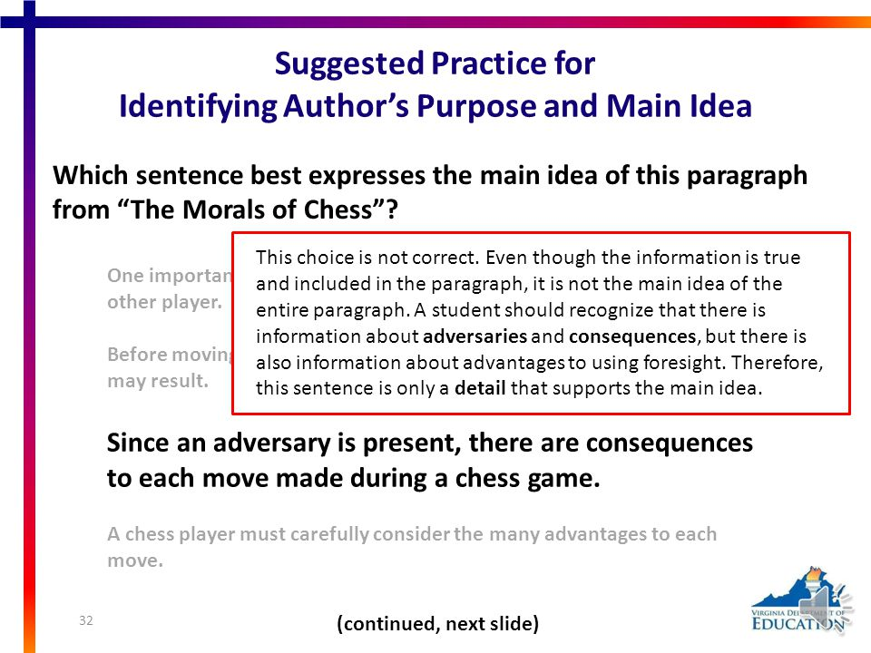 "Which sentence best expresses the main idea of this paragraph from ""The Morals of Chess""? One important skill in chess is defense because it prevents"