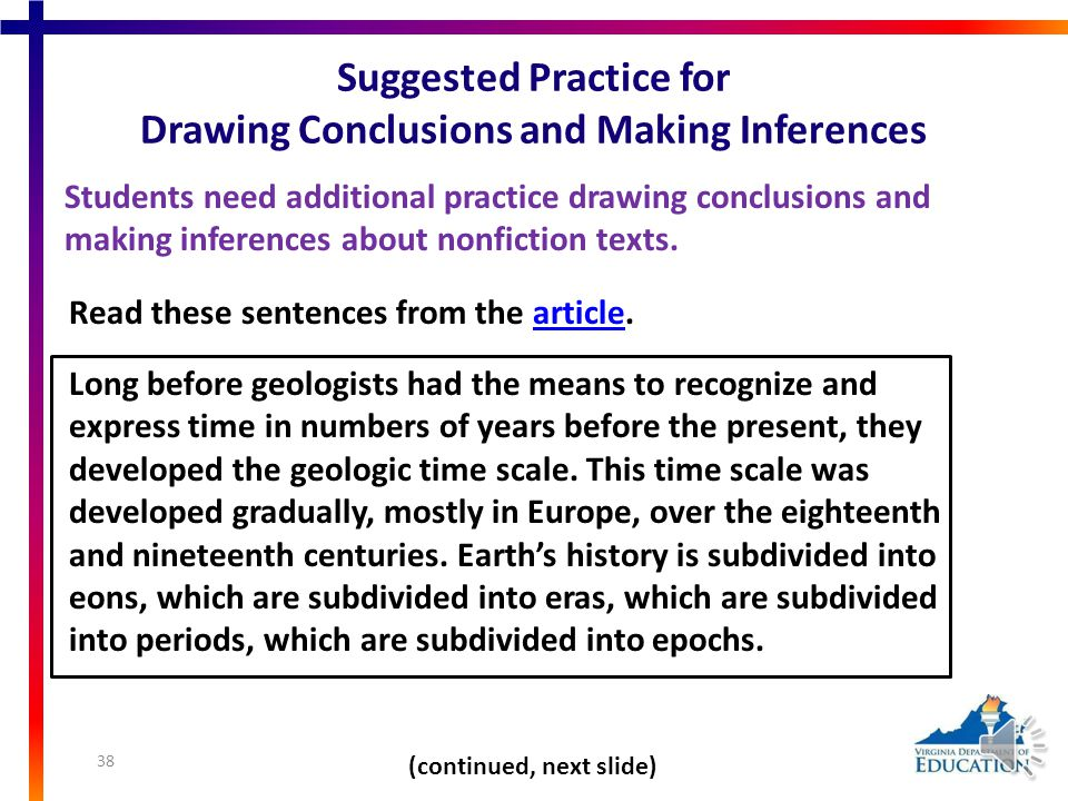 Demonstrating Comprehension: Drawing Conclusions and Making Inferences Students need additional practice drawing conclusions and making inferences. Fi