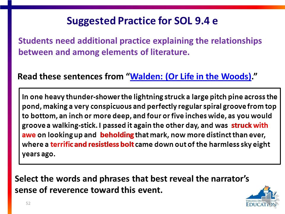 Suggested Practice for SOL 9.4 d Students need additional practice analyzing the purpose of figurative language in fictional texts. Based on both sele