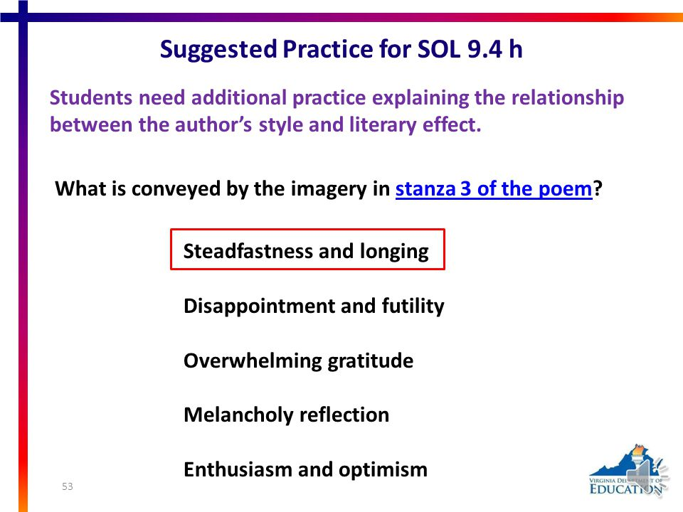 Suggested Practice for SOL 9.4 e Students need additional practice explaining the relationships between and among elements of literature.