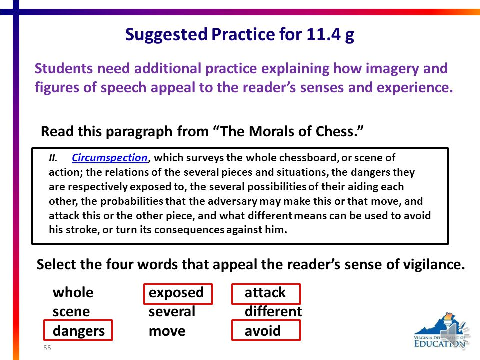 Suggested Practice for 9.4 h Students need additional practice explaining the relationship between the author's style and literary effect. And live al