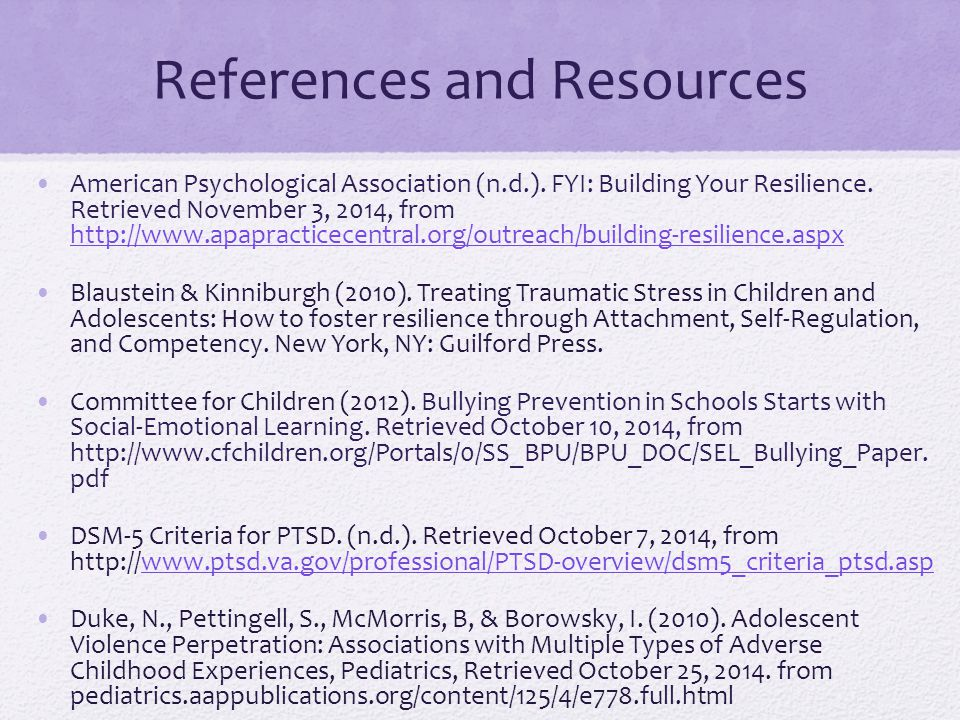 References and Resources American Psychological Association (n.d.).