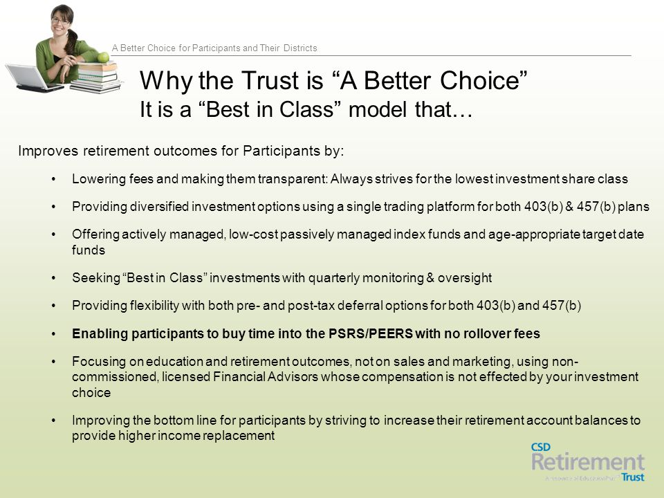 A Better Choice for Participants and Their Districts Improves retirement outcomes for Participants by: Lowering fees and making them transparent: Alwa