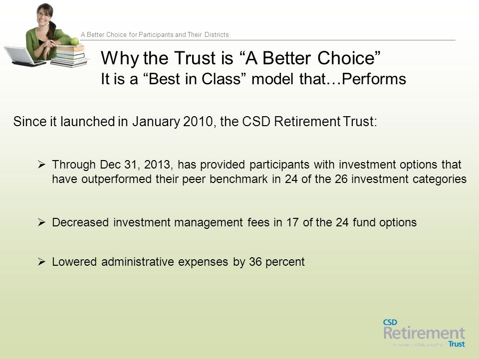 A Better Choice for Participants and Their Districts Recently released, in early 2011 this study by TIAA CREF, led by expert scholars Robert Clark, professor of economics at North Carolina State University and TIAA-CREF Institute Fellow, and David Richardson, principal research fellow at TIAA-CREF Institute, assesses key components of state 403(b) retirement plan structures to identify the method that is most efficient and cost effective.