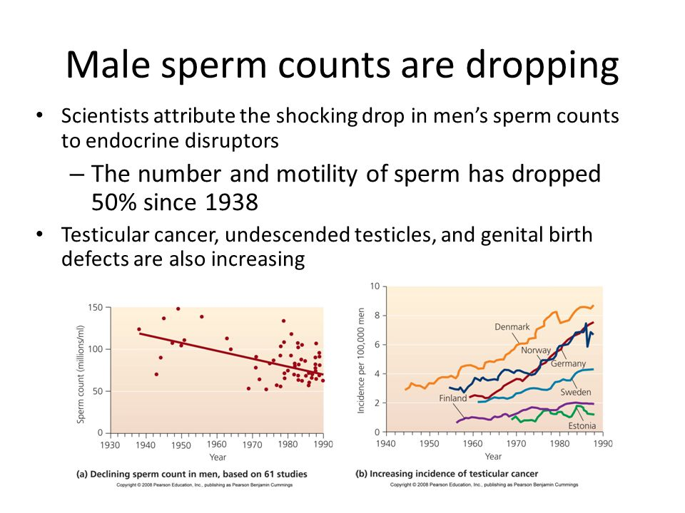 Male sperm counts are dropping Scientists attribute the shocking drop in men's sperm counts to endocrine disruptors – The number and motility of sperm