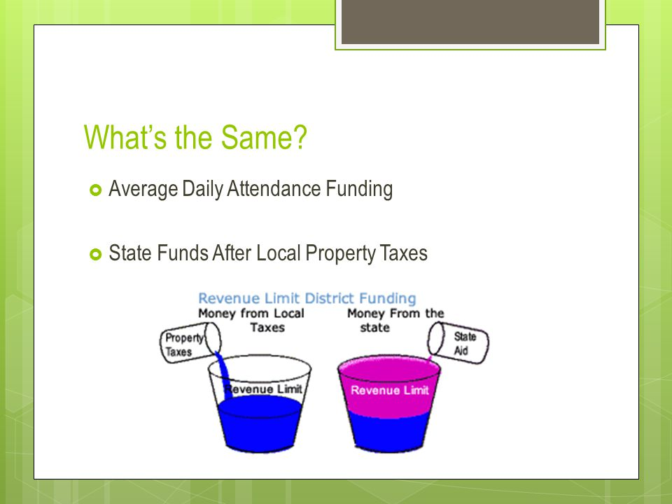 What's the Same?  Average Daily Attendance Funding  State Funds After Local Property Taxes