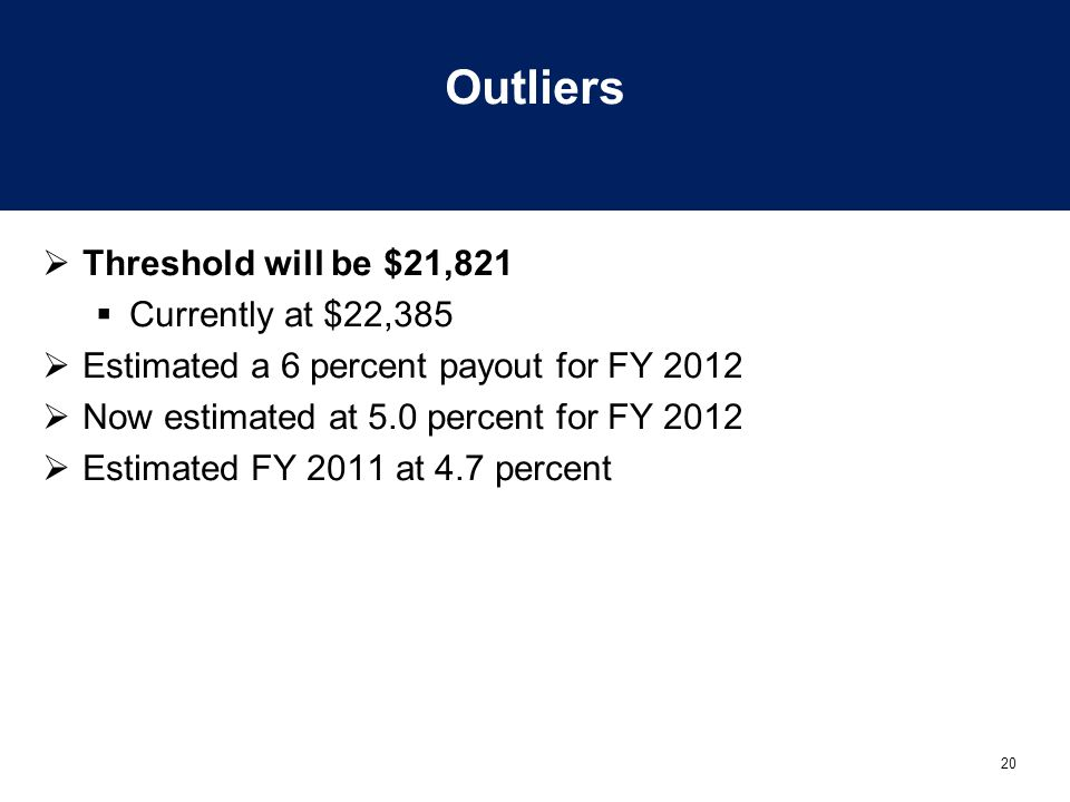 20 Outliers  Threshold will be $21,821  Currently at $22,385  Estimated a 6 percent payout for FY 2012  Now estimated at 5.0 percent for FY 2012 