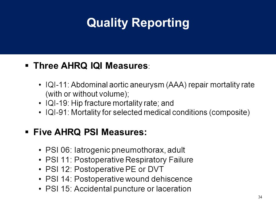 34 Quality Reporting  Three AHRQ IQI Measures : IQI-11: Abdominal aortic aneurysm (AAA) repair mortality rate (with or without volume); IQI-19: Hip f