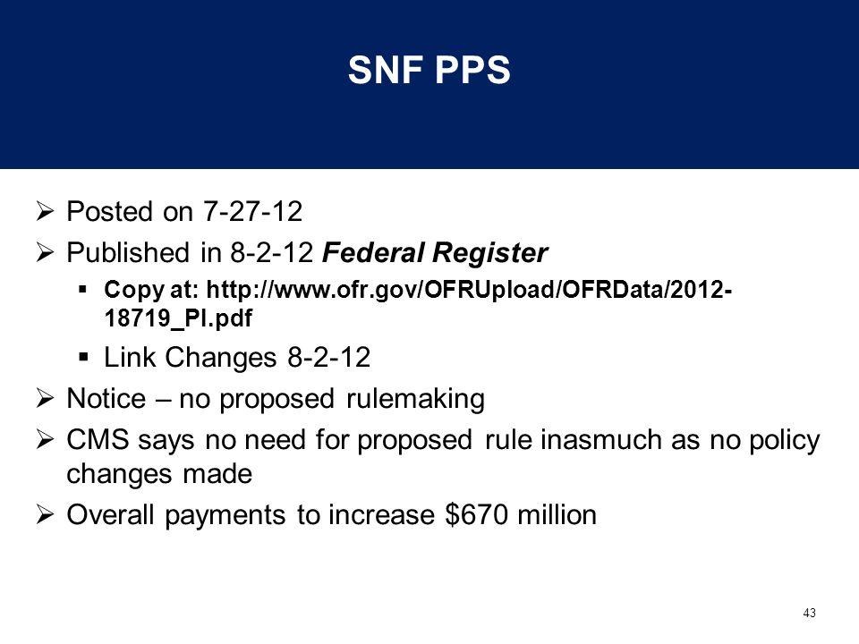 43 SNF PPS  Posted on 7-27-12  Published in 8-2-12 Federal Register  Copy at: http://www.ofr.gov/OFRUpload/OFRData/2012- 18719_PI.pdf  Link Change