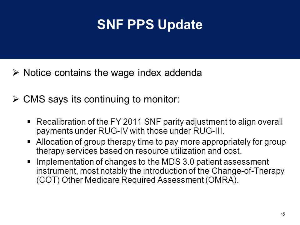 45 SNF PPS Update  Notice contains the wage index addenda  CMS says its continuing to monitor:  Recalibration of the FY 2011 SNF parity adjustment