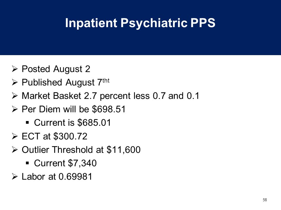 58 Inpatient Psychiatric PPS  Posted August 2  Published August 7 tht  Market Basket 2.7 percent less 0.7 and 0.1  Per Diem will be $698.51  Curr