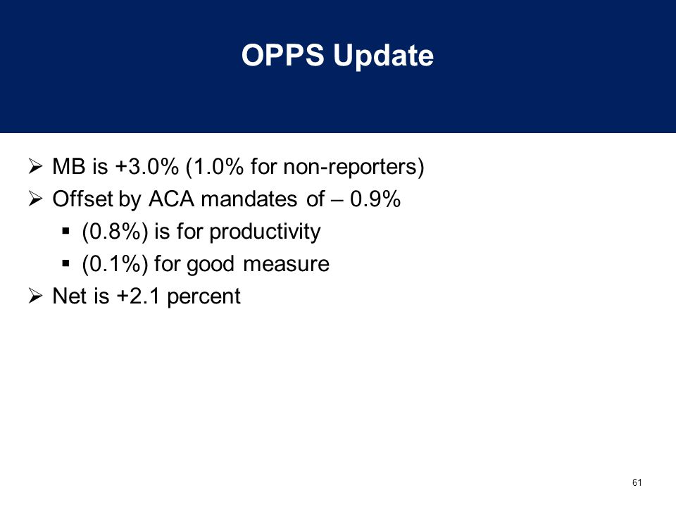 61 OPPS Update  MB is +3.0% (1.0% for non-reporters)  Offset by ACA mandates of – 0.9%  (0.8%) is for productivity  (0.1%) for good measure  Net